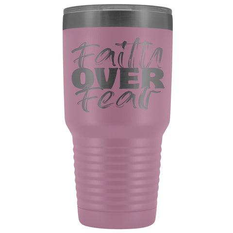 Image of Faith Over Fear Christian Tumblers light purple