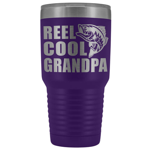 Image of Reel Cool Grandpa 30oz. Tumblers Grandpa Fishing Travel Mug purple