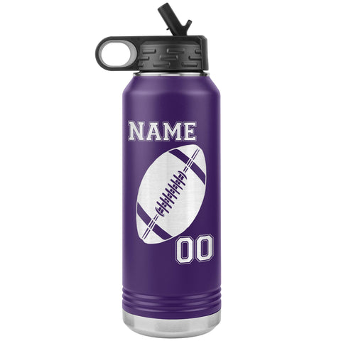 Image of 32oz. Water Bottle Tumblers Personalized Football Water Bottles purple