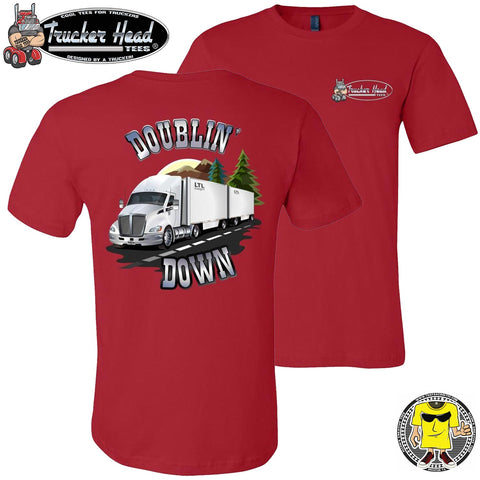 Image of Doublin' Down LTL Truck Driver T-Shirt red
