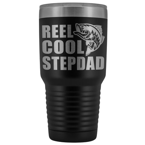Image of Reel Cool Stepdad 30oz. Tumblers Step Dad Travel Mug black