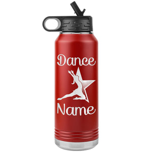 Dance Tumbler Water Bottle, Personalized Dance Gifts red