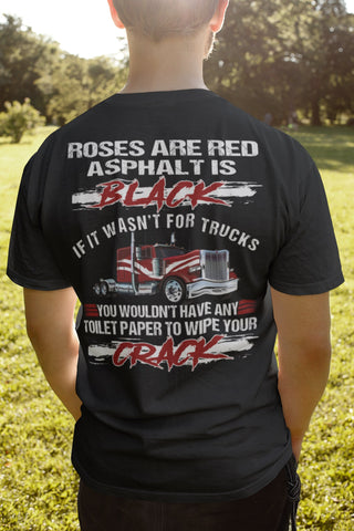 Roses Are Red Asphalt Is Black Toilet Paper Funny Trucker Shirts sales mock up