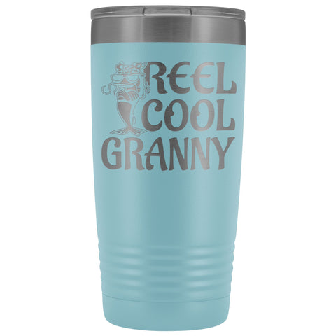 Image of Reel Cool Granny Fishing 20oz Tumbler light blue