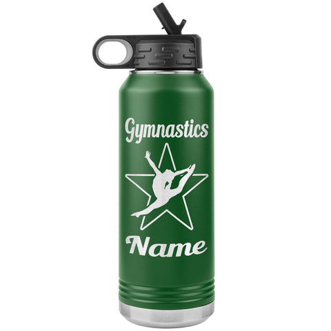 Image of 32oz Gymnastics Water Bottle Tumbler green