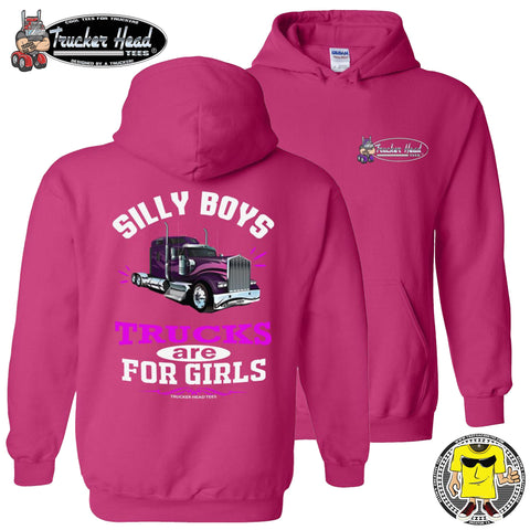 Image of Silly Boys Trucks Are For Girls Women's Trucker Hoodie KW pullover pink