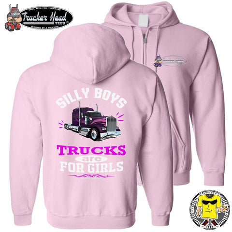 Image of Silly Boys Trucks Are For Girls Women's Trucker Hoodie KW zip up pink
