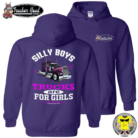 Image of Silly Boys Trucks Are For Girls Women's Trucker Hoodie KW pullover purple