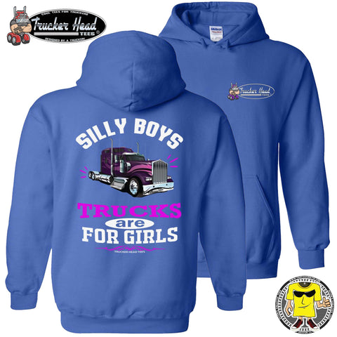 Image of Silly Boys Trucks Are For Girls Women's Trucker Hoodie KW pullover royal