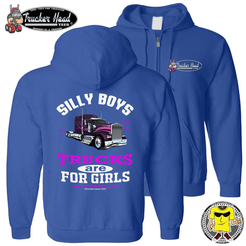 Image of Silly Boys Trucks Are For Girls Women's Trucker Hoodie KW zip up royal