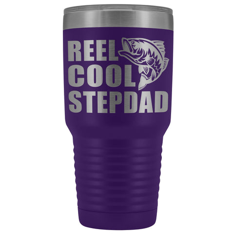 Image of Reel Cool Stepdad 30oz. Tumblers Step Dad Travel Mug purple