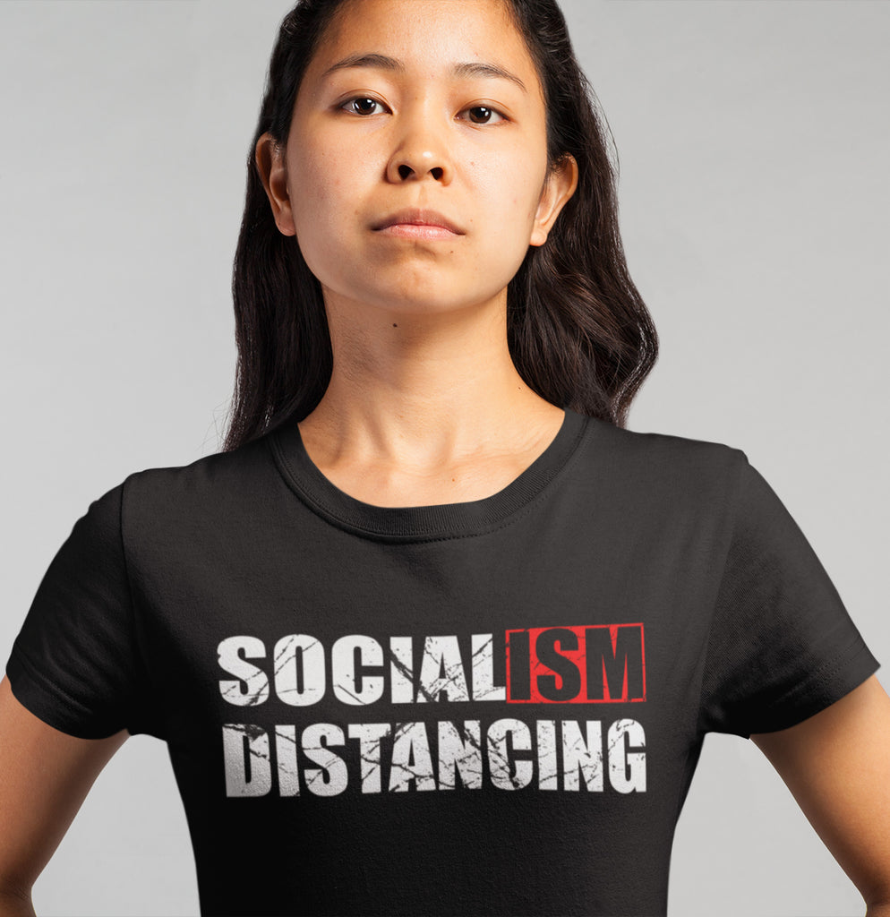 Socialism Distancing T-Shirts lady mock up