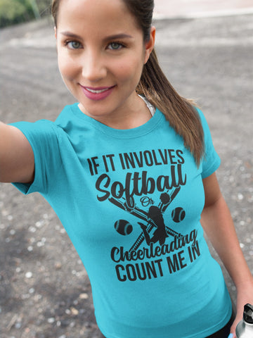 Image of Softball Or Cheerleading Count Me In Softball Shirts