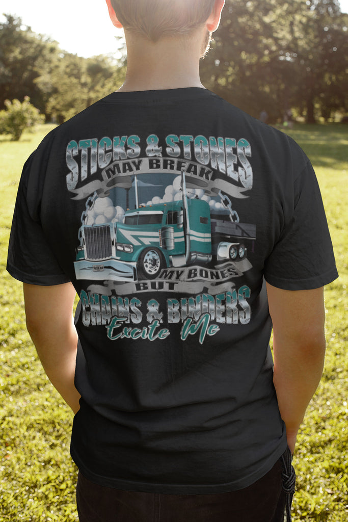 Sticks & Stones Chains & Binders Funny Flatbedder T Shirt