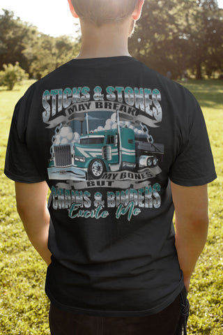 Image of Sticks & Stones Chains & Binders Funny Flatbedder T Shirt
