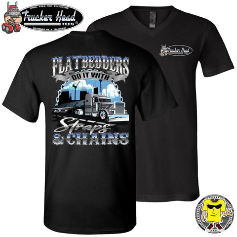 Image of FlatBedders Do It With Straps & Chains Flatbedder T Shirt black v-neck