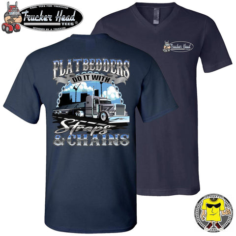 Image of FlatBedders Do It With Straps & Chains Flatbedder T Shirt navy v-neck