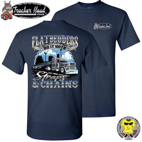 Image of FlatBedders Do It With Straps & Chains Flatbedder T Shirt navy crew