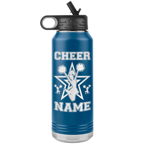 Image of 32oz Cheerleading Water Bottle Tumbler, Cheer Gifts blue