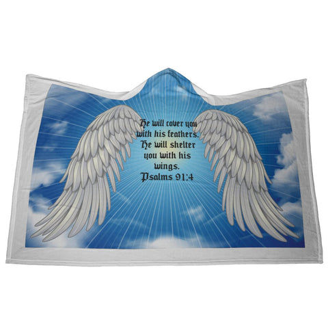 Image of Psalms 91:4 NLT Angel Wings Christian Hooded Blanket 2