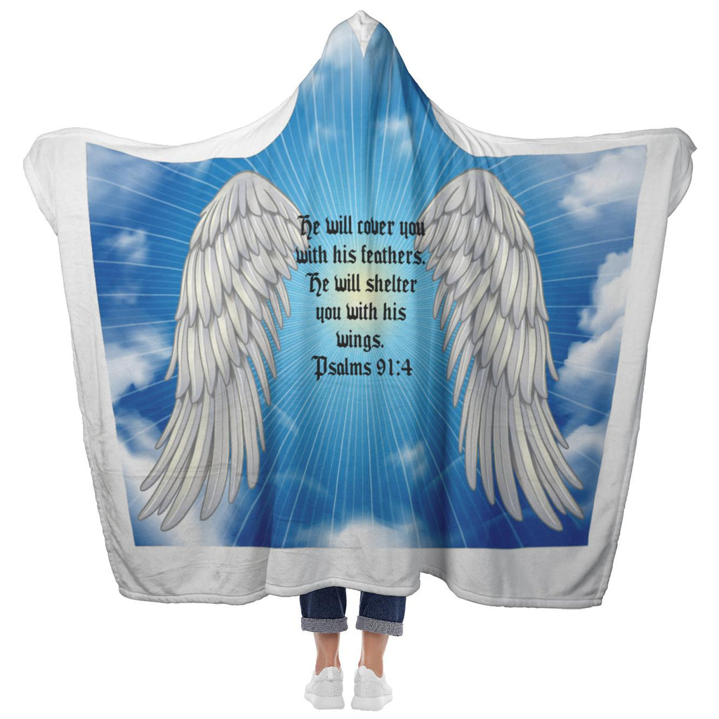 Psalms 91:4 NLT Angel Wings Christian Hooded Blanket 1