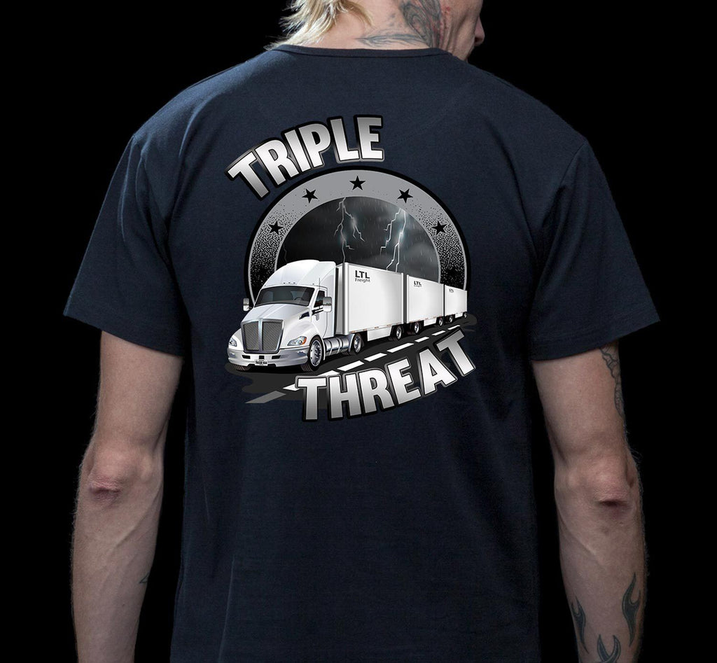 Triple Threat LTL Truck Driver T-Shirt mock up