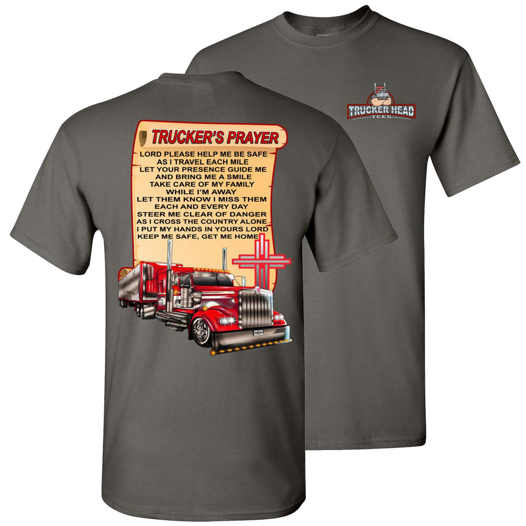 Trucker's Prayer Trucker Shirt christian trucker shirts  charcoal