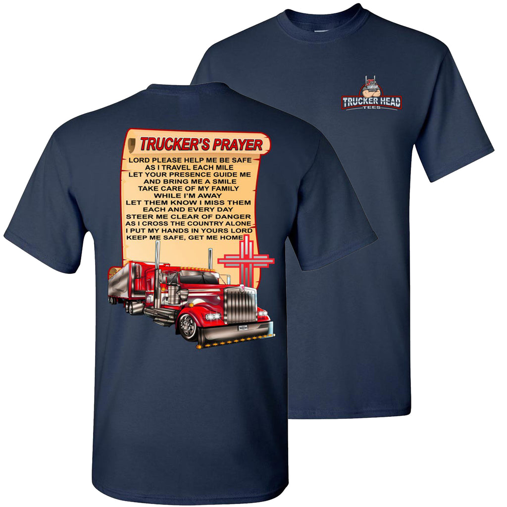 Trucker's Prayer Trucker Shirt christian trucker shirts  navy