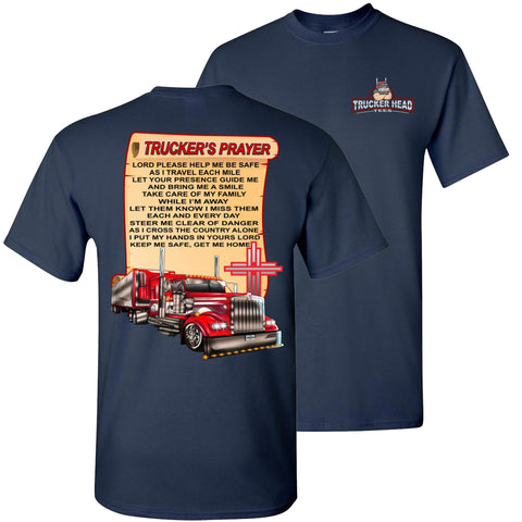 Image of Trucker's Prayer Trucker Shirt christian trucker shirts  navy