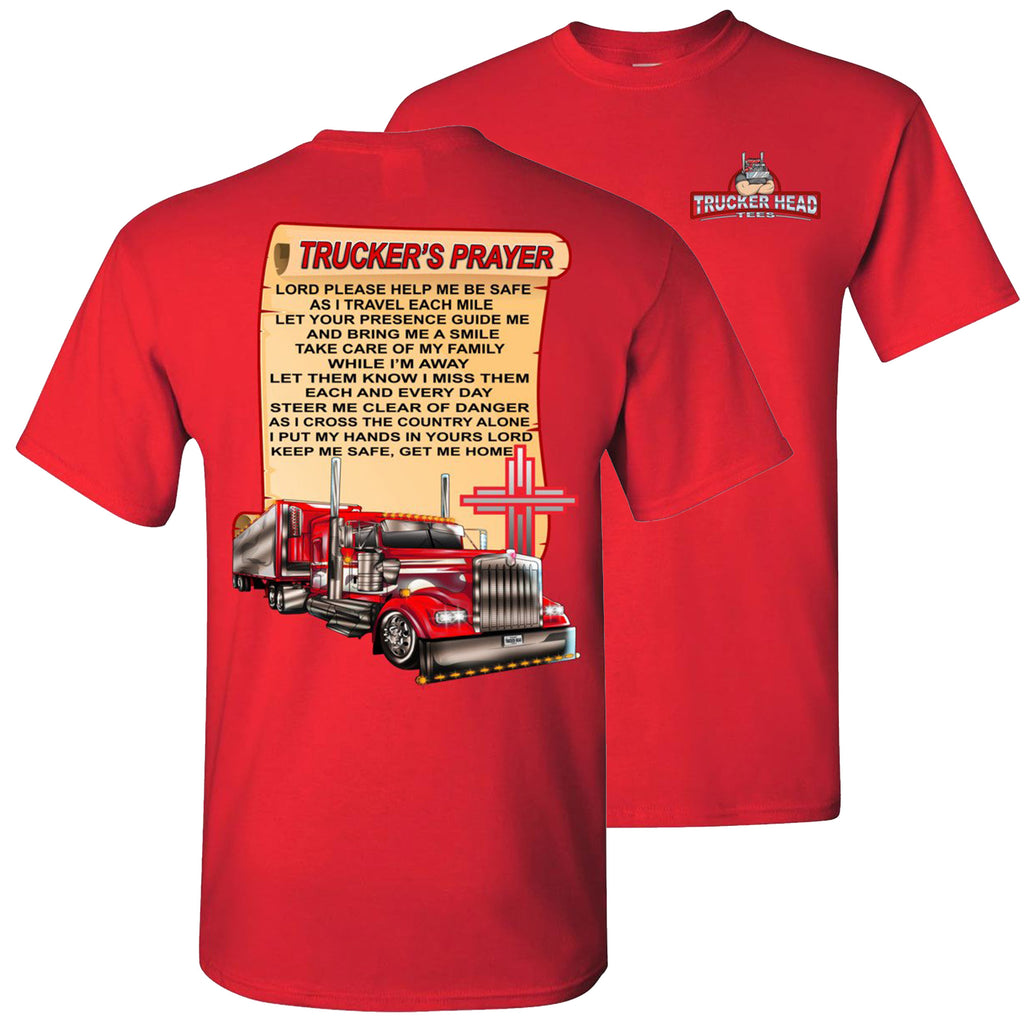 Trucker's Prayer Trucker Shirt christian trucker shirts  red