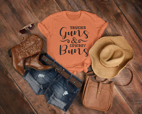 Image of Trucks Guns And Cowboy Buns Country Cowgirl Girl T Shirts 2
