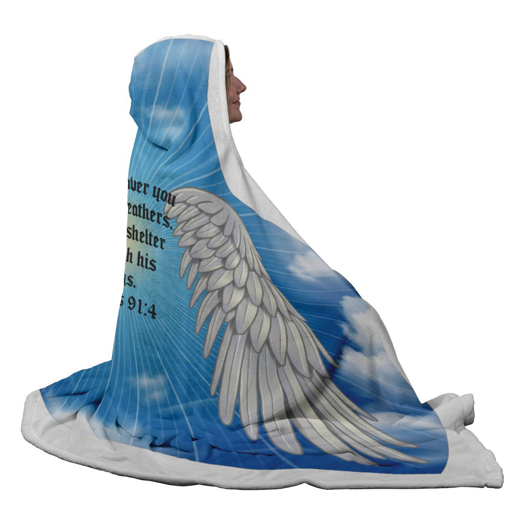 Psalms 91:4 NLT Angel Wings Christian Hooded Blanket 5