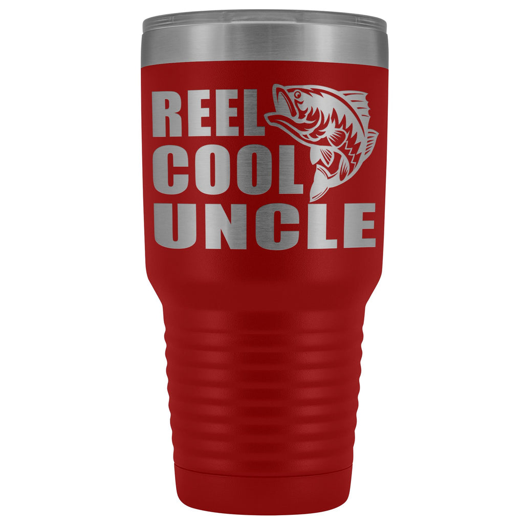 Reel Cool Uncle 30oz. Tumblers Uncle Travel Mug red