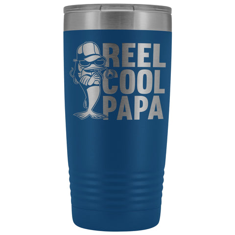 Image of Reel Cool Papa Fishing Papa 20oz Tumbler blue
