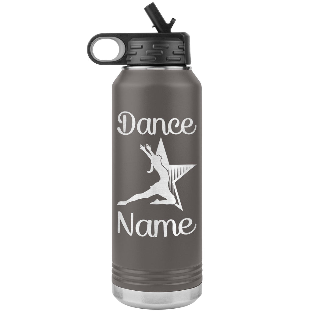 Dance Tumbler Water Bottle, Personalized Dance Gifts pewter