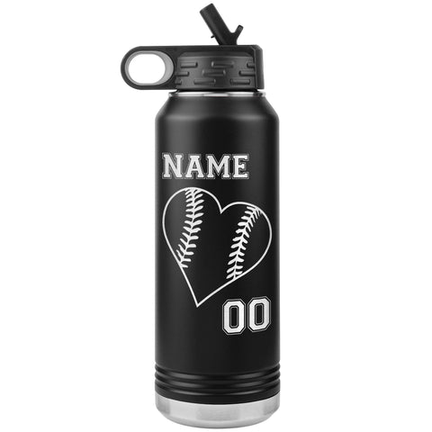32oz Tumbler Softball Water Bottle Or Baseball Water Bottle black