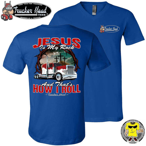 Image of Jesus Is My Rock And That's How I Roll Christian Trucker T Shirt royal v-neck