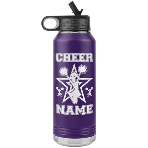 32oz Cheerleading Water Bottle Tumbler, Cheer Gifts purple