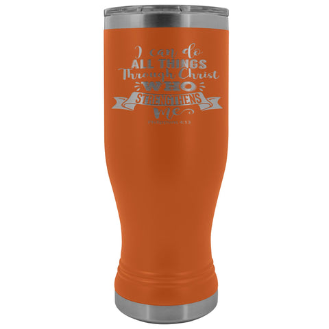 I Can Do All Things Through Christ 20oz. BOHO Tumbler Christian Travel Coffee Mugs orange