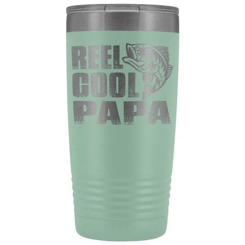 Image of Reel Cool Papa Fishing Papa 20oz Tumbler design 2 teal