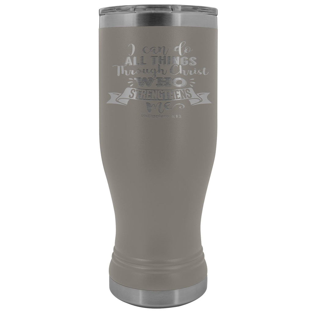I Can Do All Things Through Christ 20oz. BOHO Tumbler Christian Travel Coffee Mugs pewter
