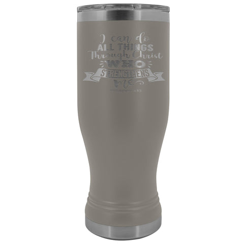 Image of I Can Do All Things Through Christ 20oz. BOHO Tumbler Christian Travel Coffee Mugs pewter