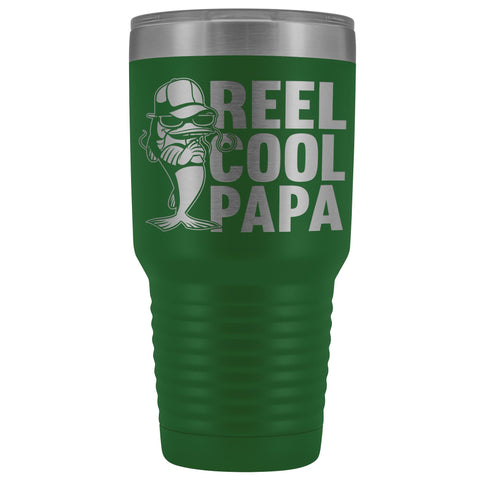 Image of Reel Cool Papa Fishing Papa Tumbler green