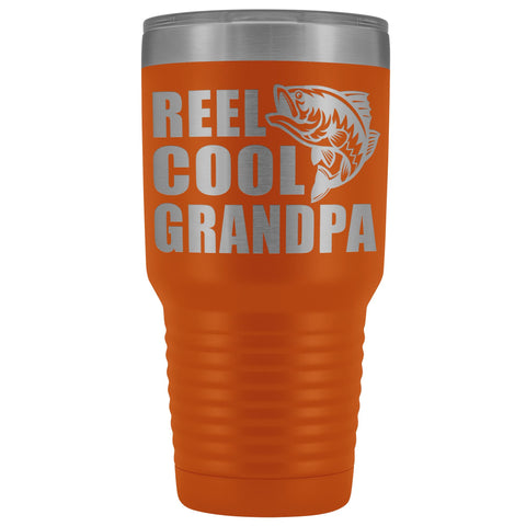Image of Reel Cool Grandpa 30oz. Tumblers Grandpa Fishing Travel Mug orange