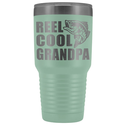 Image of Reel Cool Grandpa 30oz. Tumblers Grandpa Fishing Travel Mug teal