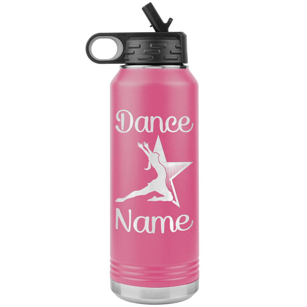 Dance Tumbler Water Bottle, Personalized Dance Gifts pink