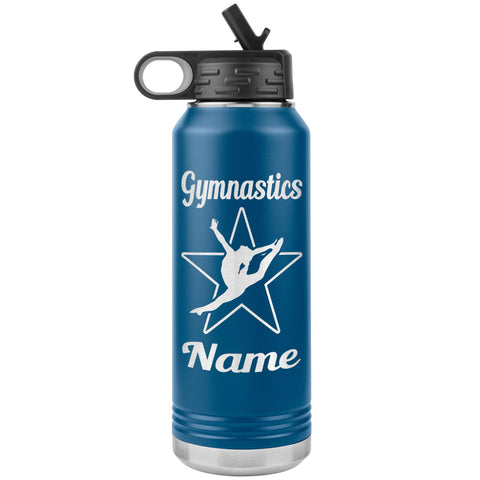Image of 32oz Gymnastics Water Bottle Tumbler blue