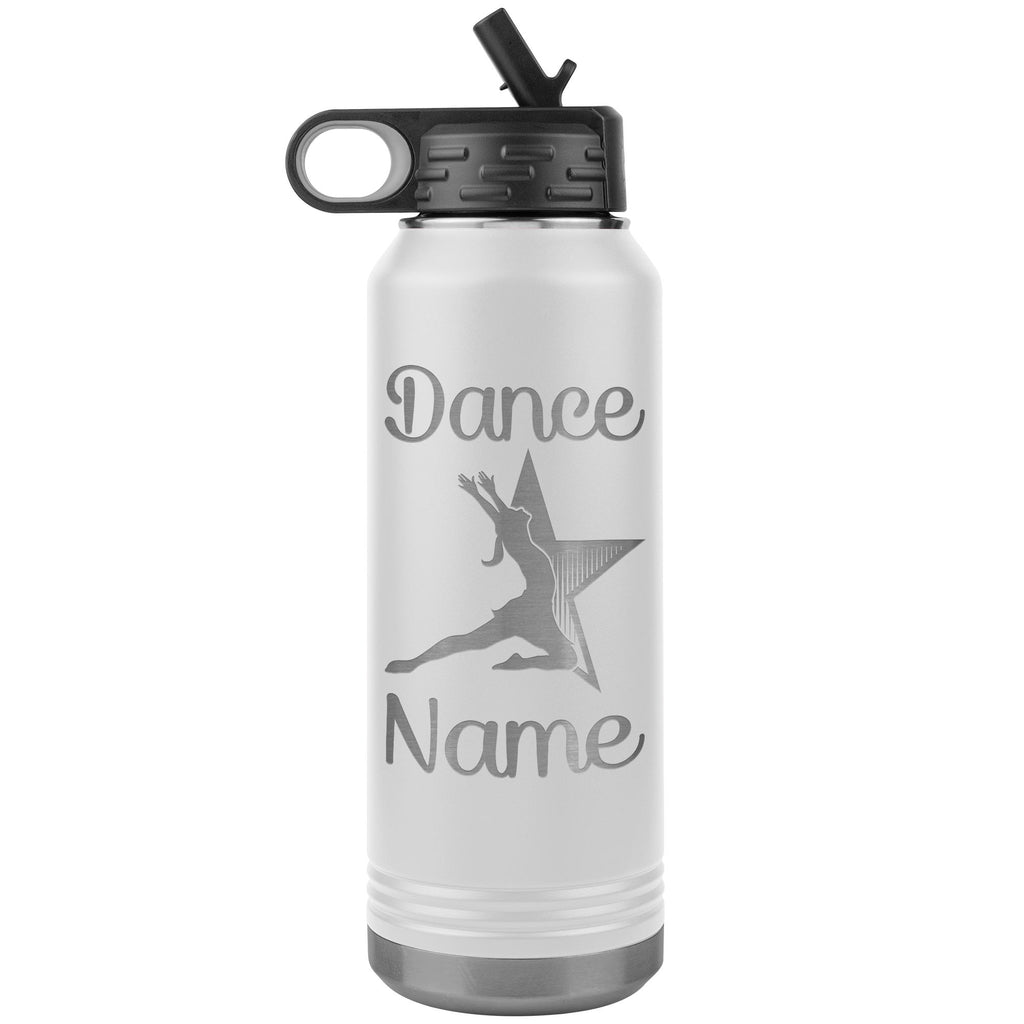 Dance Tumbler Water Bottle, Personalized Dance Gifts white