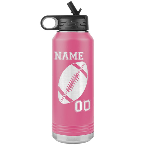 32oz. Water Bottle Tumblers Personalized Football Water Bottles pink