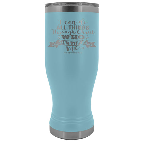 I Can Do All Things Through Christ 20oz. BOHO Tumbler Christian Travel Coffee Mugs light blue